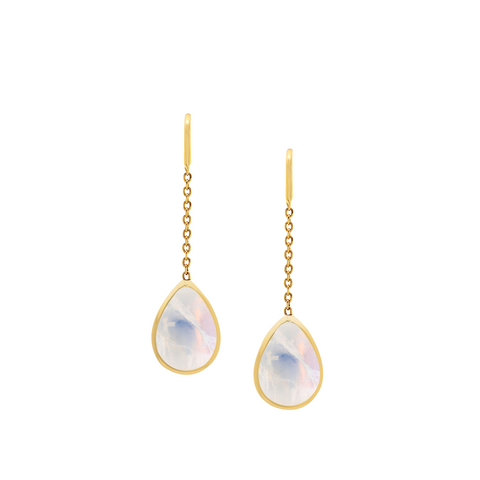 Rainbow Moonstone Pear Cabochon Dangle Earring In 18K Yellow Gold