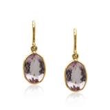 Morganite Oval Earring in 18kt Yellow Gold