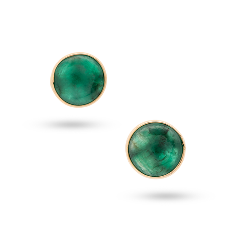 Emerald  Stud Earrings in 18k Yellow Gold