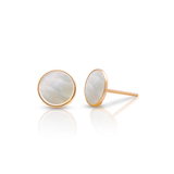Mother of Pearl Stud Earrings in 18k Yellow Gold
