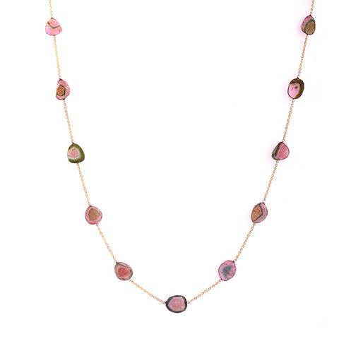 Watermelon Tourmaline Mixshape Necklace in 18k Yellow Gold