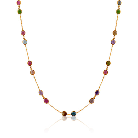 Multicolor Stones Mix Shape Necklace in 18k Yellow Gold
