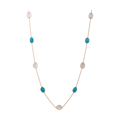 Turquoise & Milky Moonstone Unshaped Necklace in 18k Yellow Gold