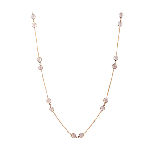 Rainbow Moonstone Round Necklace in 18k Yellow Gold