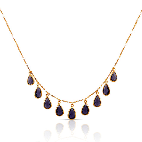 Iolite Pear Shaped Necklace in 18k Yellow Gold