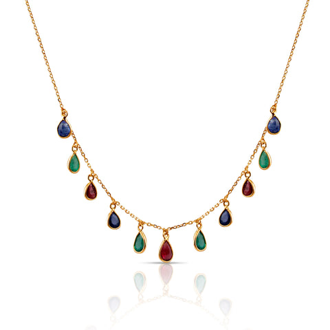 Emerald Ruby Sapphire Pear Dangle Necklace in 18k Yellow Gold