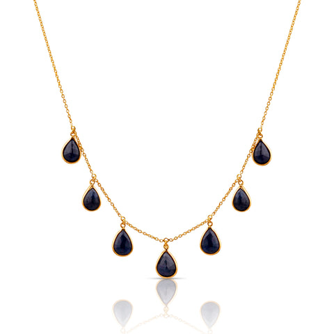 Blue Sapphire Pear Shaped Necklace in 18k Yellow Gold