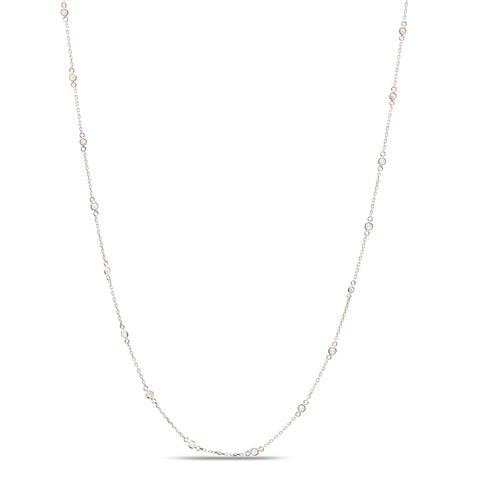 Gemstone Fin Long Necklace in 18K White Gold