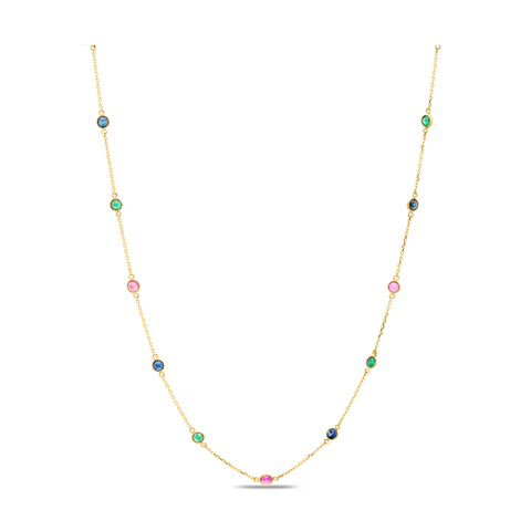 Gemstone Fin Long Necklace in 18K Yellow Gold
