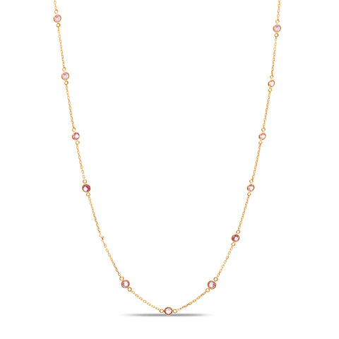Gemstone Fin Long Necklace in 18K Rose Gold