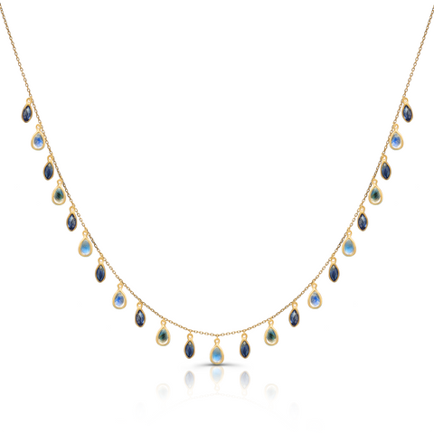 Blue Sapphire Marquise and Rainbow Moonstone Pear Shaped Necklace in 18k Yellow Gold