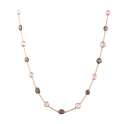 Rainbow Moonstone and Labradorite Multi Shape Necklace in 18k Yellow Gold