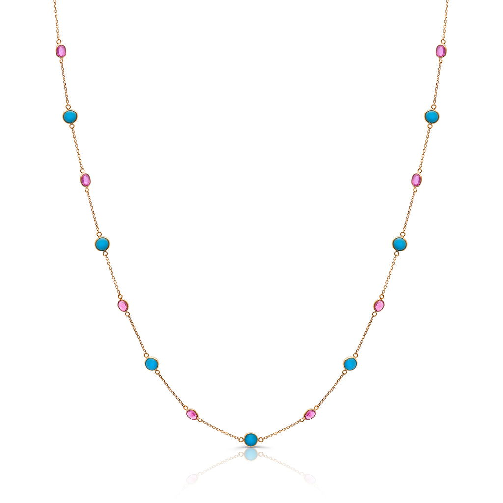Ruby & Turquoise Rd. Necklace in 18k YG