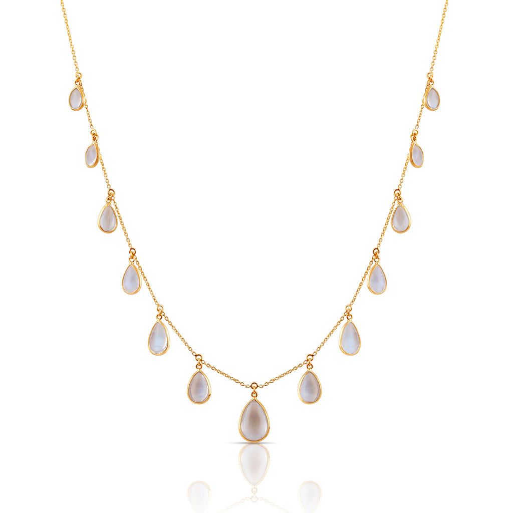 Rainbow Moonstone P/S Necklace in 18k YG