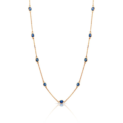 Blue Sapphire Ovals Station Necklace in 18k YG