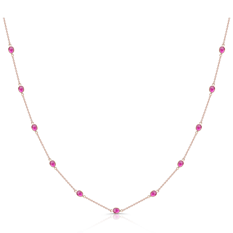 Gemstone Oval Station Necklace in 18k Yellow Gold