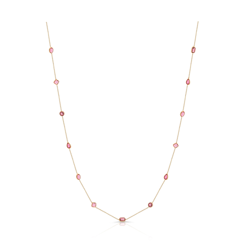 Pink Tourmaline Mixshape Necklace in 18k Yellow Gold