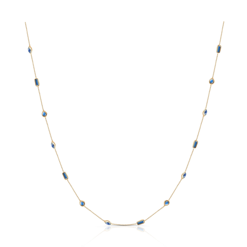 Rainbow Moonstone Mixshape Necklace in 18k Yellow Gold