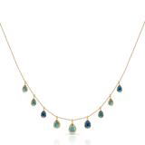 Rainbow Moonstone P/S Dangle Necklace in 18k Yellow Gold