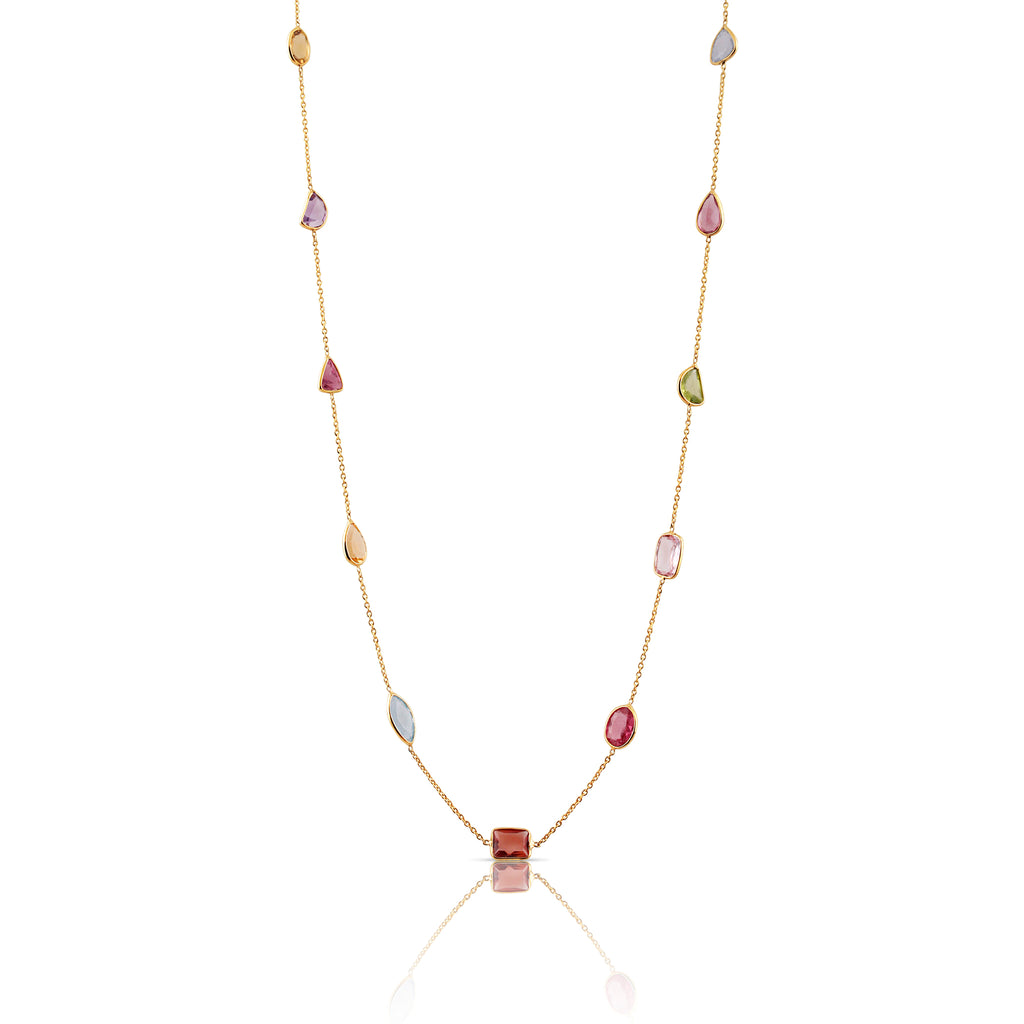 Multicolor Stones Multishape Necklace in 18k Yellow Gold