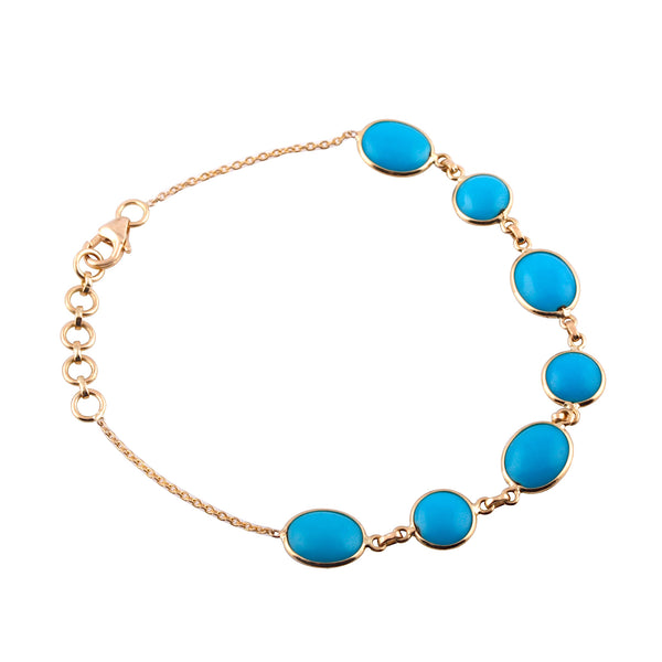 Turquoise Bracelet in 18k Yellow Gold