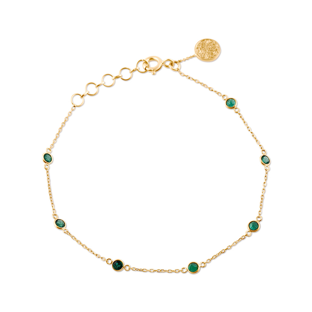 Emerald Rounds Bracelet in 18k Yellow Gold