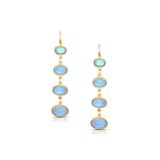 Rainbow Moonstone Oval Earrings in 18k Yellow Gold