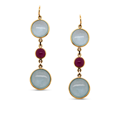 Aquamarine & Ruby Rd. Earring in 18k Yellow Gold