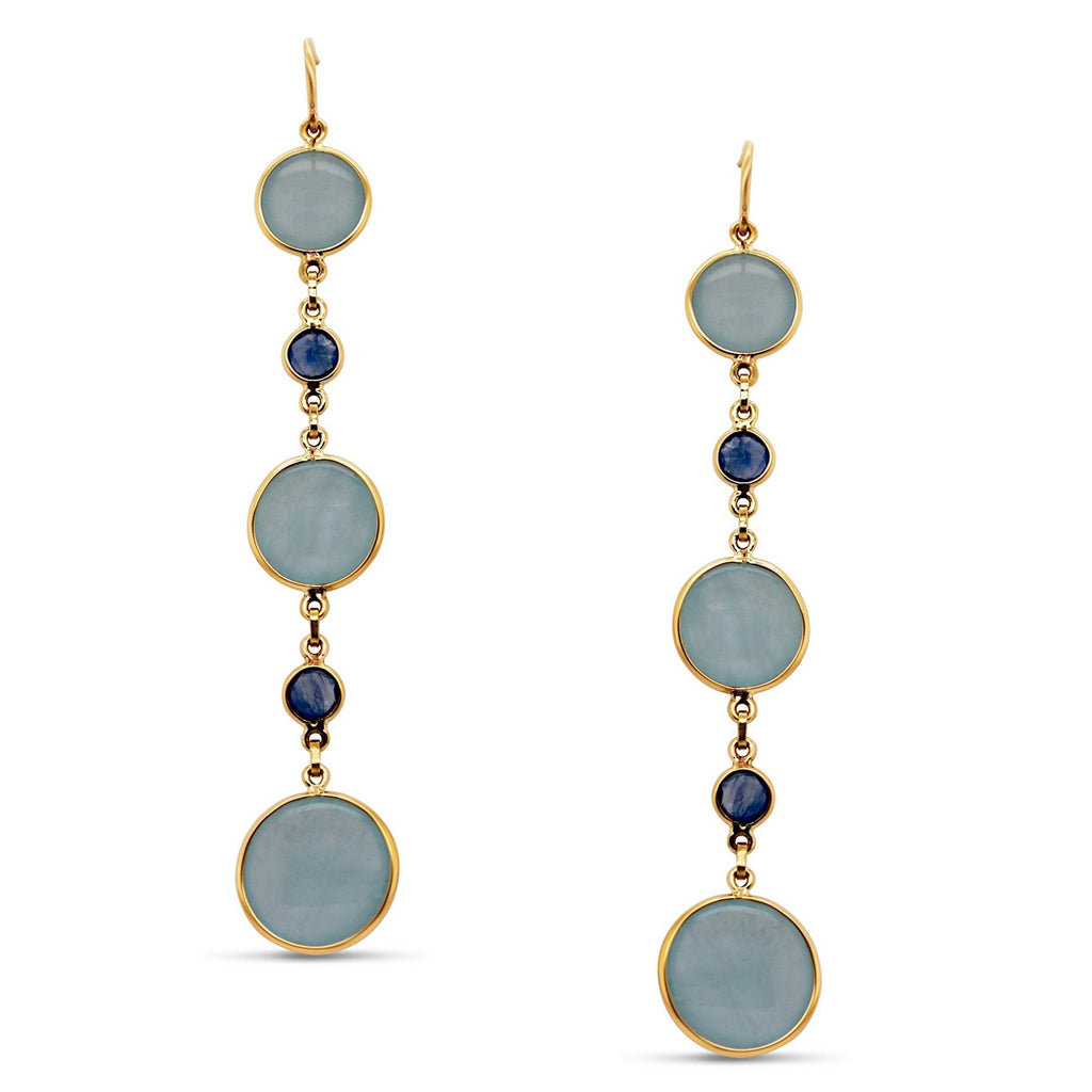 Aquamarine & Blue Sapphire Rd.. Earring in 18k Yellow Gold
