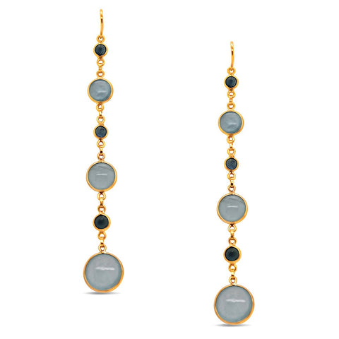 Aquamarine & Blue Sapphire Rd. Earring in 18k Yellow Gold