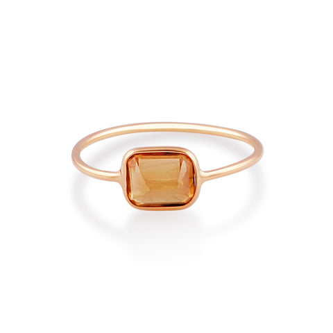Yellow Sapphire Rectangle Cut Ring in 18k Yellow Gold