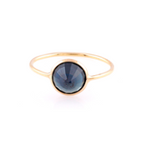 Blue Sapphire Round Ring in 18k Yellow Gold