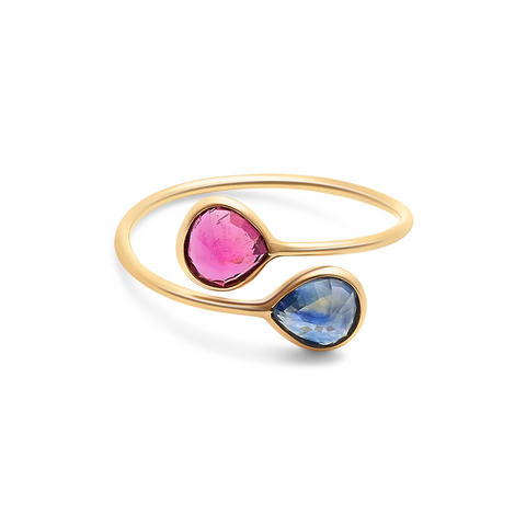 Ruby & Blue Sapphire Pear Shaped Ring in 18k Yellow Gold