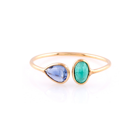 Blue Sapphire Pear Shaped & Emerald Oval Ring in 18k Yellow Gold