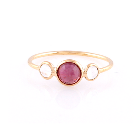 Rainbow Moonstone & Ruby Round Ring in 18k Yellow Gold