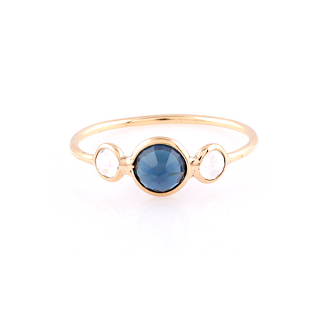 Rainbow Moonstone & Gemstone Round Ring in 18k Yellow Gold