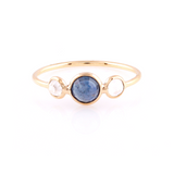 Rainbow Moonstone & Blue Sapphire Round Ring in 18k Yellow Gold