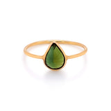 Green Tourmaline Pear Shape Ring in 18k Yellow Gold
