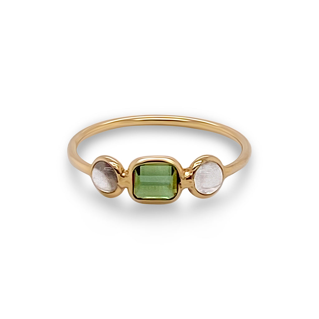 Green Tourmaline Rect. & Rainbow Moonstone Rd. Ring in 18k Yellow Gold