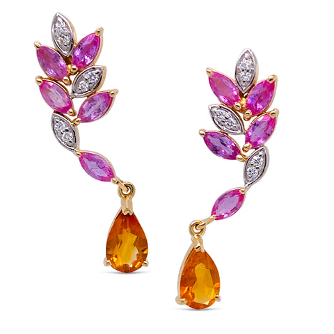 Gemstone & Diamond Earring In 18K Yellow Gold