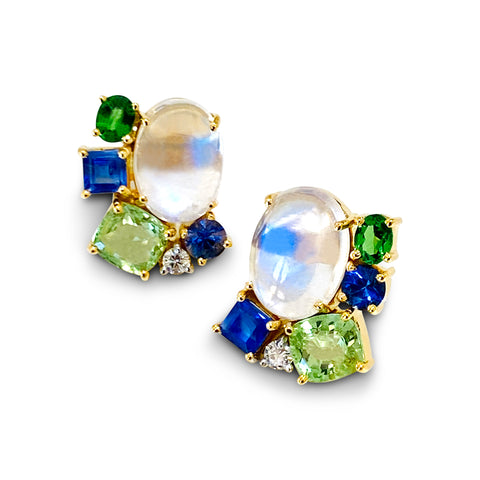 Multicolor Stones & Diamond Earring In 18K Yellow Gold