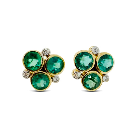 Emerald & Diamond Stud Earring In 18K Yellow Gold