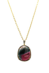 Bicolor Tourmaline & Diamond Pendant in 18k YG