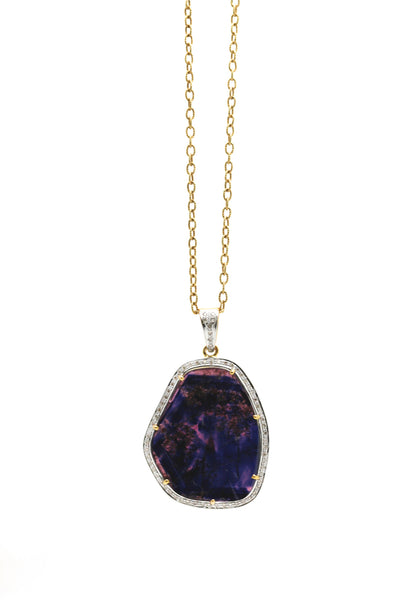 Sapphire Slice and Diamond Pendant in 18k Yellow Gold