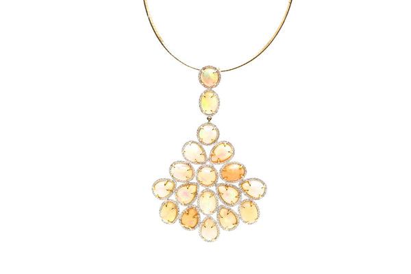 18K Yellow Gold Pendant With Ethiopian Opal & Diamond