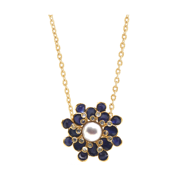 Blue Sapphire, White Sapphire and Pearl Flower Pendant in 18k Yellow Gold