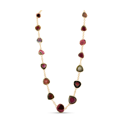 Bicolor Tourmaline long necklace in 18k Yellow Gold
