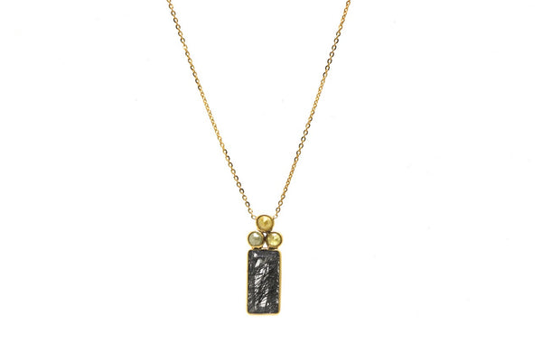 18K Yellow Gold Necklace With Black Rutile and Champagne Diamond