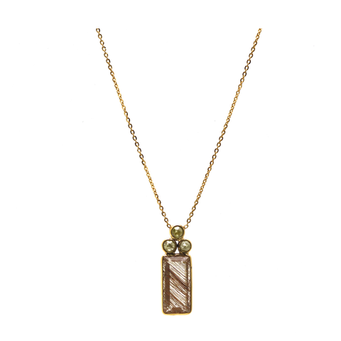 Copper Rutile Rectangular and Champagne Diamond Necklace In 18K Yellow Gold