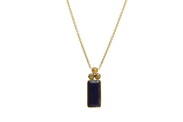 18K Yellow Gold Necklace With Lapis and Champagne Diamond